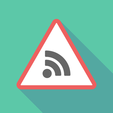 Illustration of a long shadow  triangular warning sign icon with an RSS sign