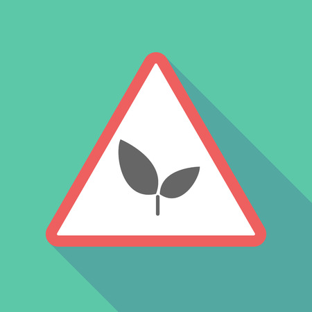 environmental hazard: Illustration of a long shadow  triangular warning sign icon with a plant