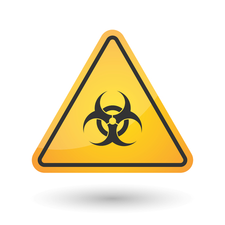 Illustration of an isolated danger signal icon with a biohazard sign Illustration