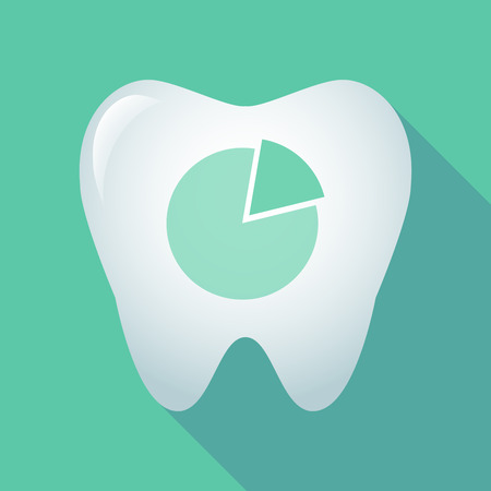 Illustration of a long shadow tooth icon with a pie chart