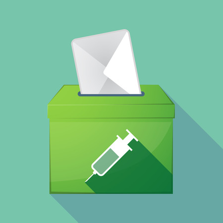 medical decisions: Illustration of a long shadow coloured ballot box icon with a syringe