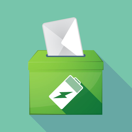 Illustration of a long shadow coloured ballot box icon with a battery