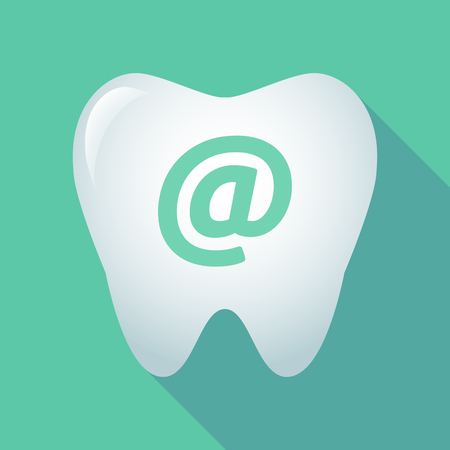 oral communication: Illustration of a long shadow tooth icon with an at sign