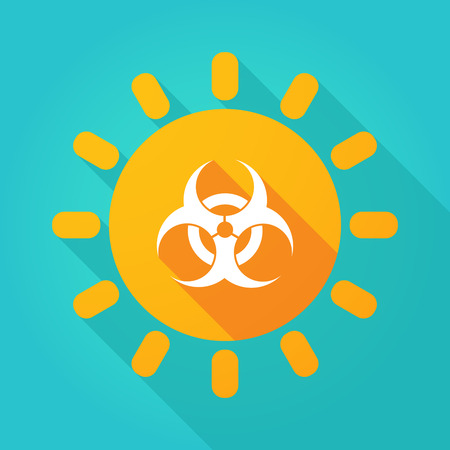 Illustration of a long shadow  bright sun icon with a biohazard sign