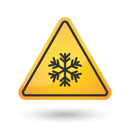 yellow beware: Illustration of an isolated danger signal icon with a snow flake