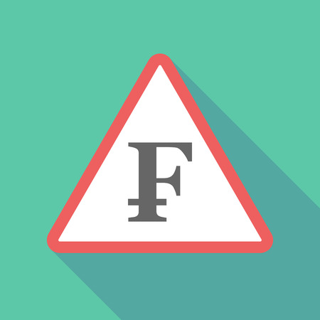 Illustration of a long shadow  triangular warning sign icon with a swiss franc sign