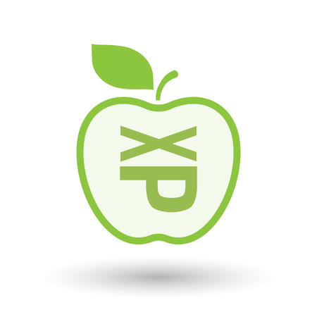 Illustration of an isolated line art healthy apple fruit vector icon with  a Tongue sticking text face emoticon Illustration