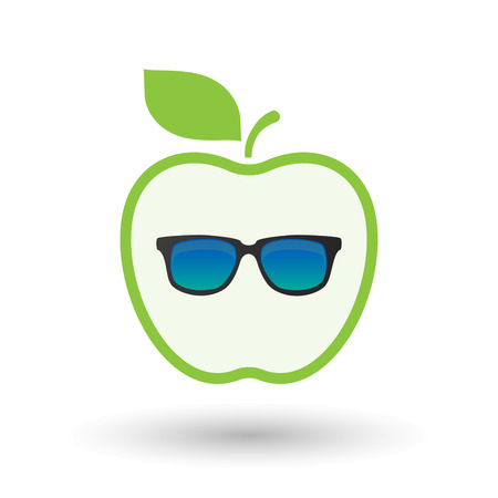 Illustration of an isolated line art healthy apple fruit vector icon with  a sunglasses icon