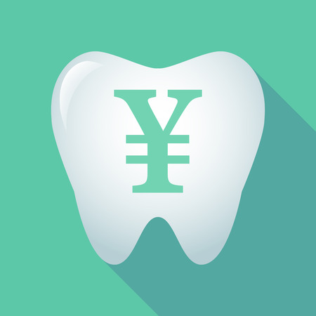 yuan: Illustration of a long shadow tooth icon with a yen sign