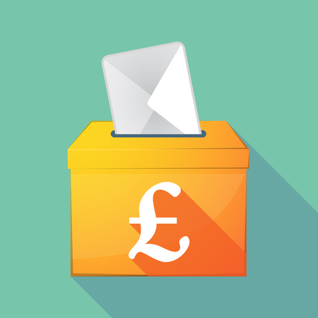elect: Illustration of a long shadow coloured ballot box icon with a pound sign
