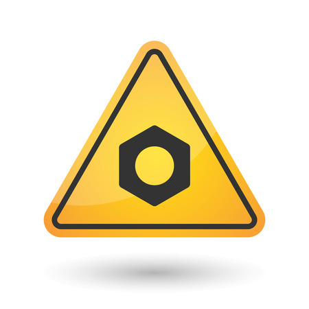 yellow beware: Illustration of an isolated danger signal icon with a nut Illustration