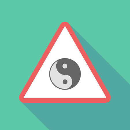 Illustration of a long shadow  triangular warning sign icon with a ying yang