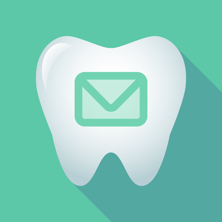 oral communication: Illustration of a long shadow tooth icon with an envelope