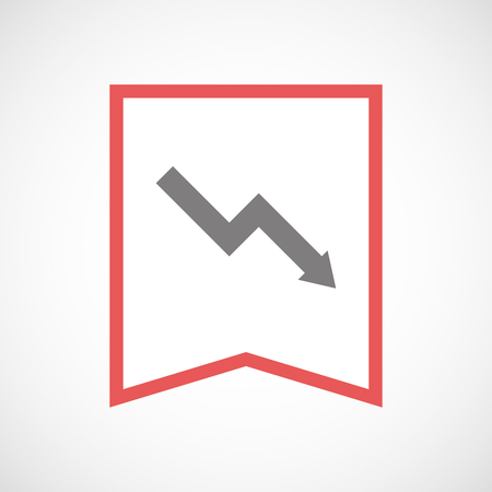 descending: Illustration of an isolated line art ribbon icon with a descending graph