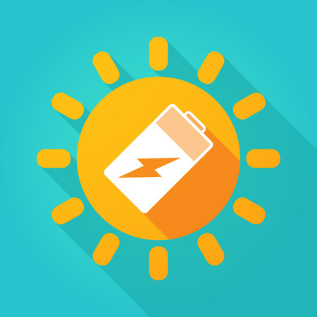 lithium: Illustration of a long shadow  bright sun icon with a battery