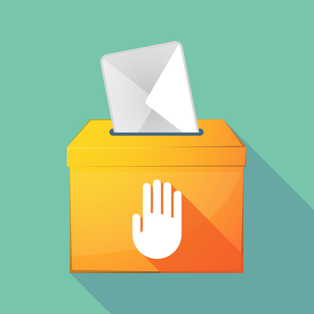 elect: Illustration of a long shadow coloured ballot box icon with a hand