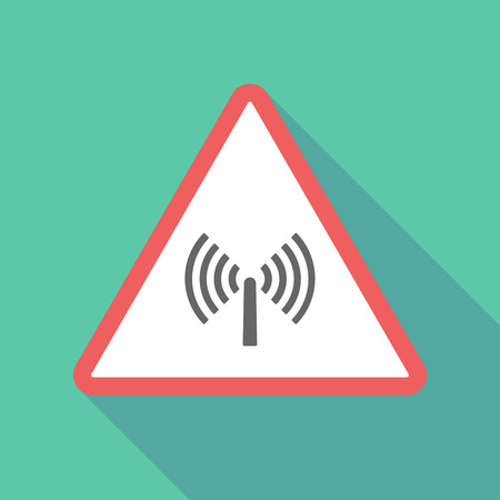 Illustration of a long shadow  triangular warning sign icon with an antenna