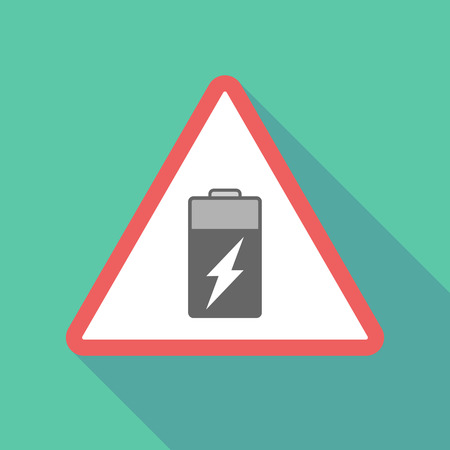 Illustration of a long shadow  triangular warning sign icon with a battery