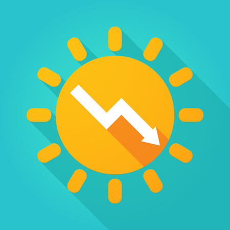 Illustration of a long shadow  bright sun icon with a descending graph