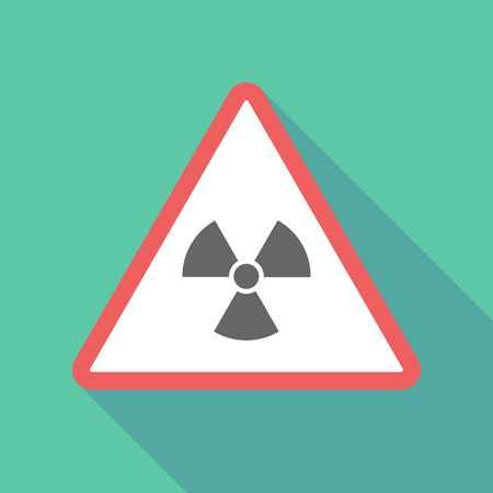 nuclear safety: Illustration of a long shadow  triangular warning sign icon with a radio activity sign