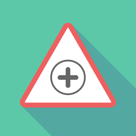 Illustration of a long shadow  triangular warning sign icon with a sum sign