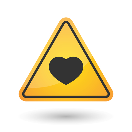 Illustration of an isolated danger signal icon with a heart Illustration