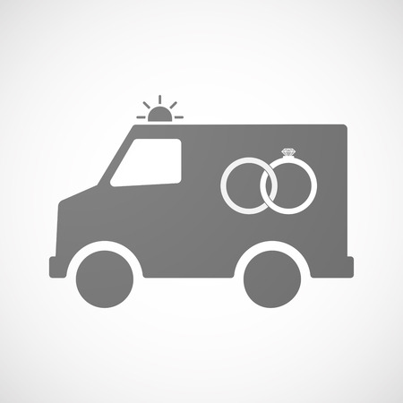 bonded: Illustration of an isolated ambulance furgon vector icon with  two bonded wedding rings Illustration