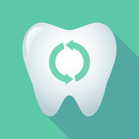 Illustration of a long shadow tooth icon with a round recycle sign
