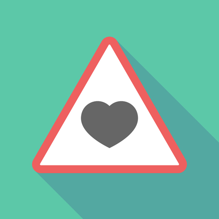 Illustration of a long shadow  triangular warning sign icon with a heart Illustration