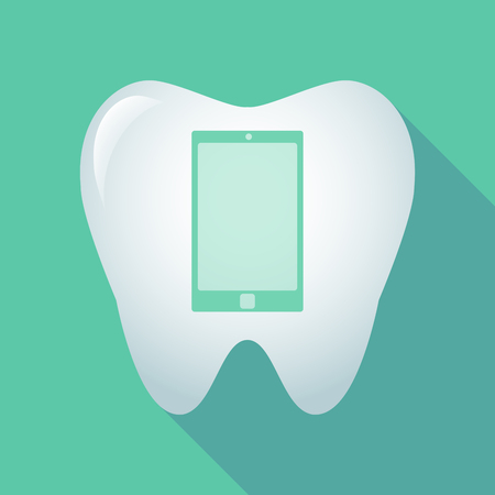 oral communication: Illustration of a long shadow tooth icon with a smart phone