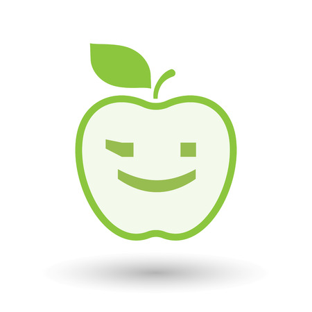 Illustration of an isolated line art healthy apple fruit vector icon with  a wink text face emoticon Illustration