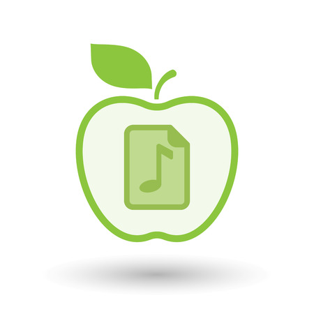 music score: Illustration of an isolated line art healthy apple fruit vector icon with  a music score icon