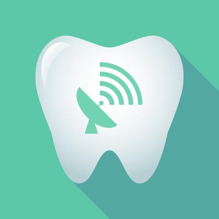 comunicacion oral: Ilustración de un icono de diente largo sombra con una antena parabólica