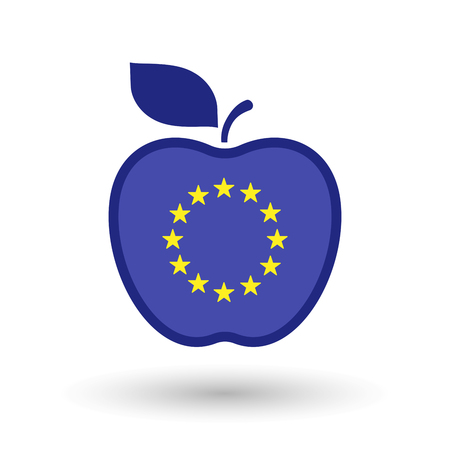 Illustration of an isolated line art healthy apple fruit vector icon with the EU flag stars