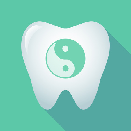 Illustration of a long shadow tooth icon with a ying yang Illustration