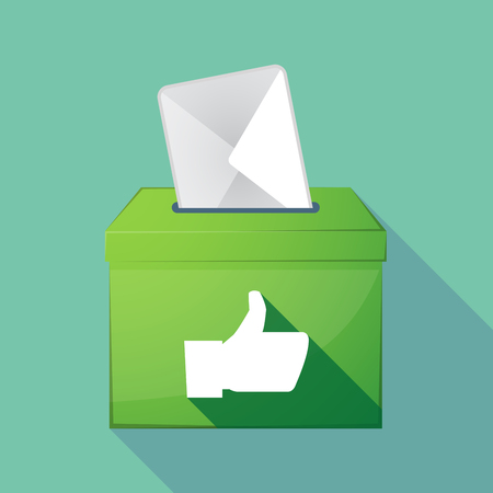 Illustration of a long shadow coloured ballot box icon with a thumb up hand