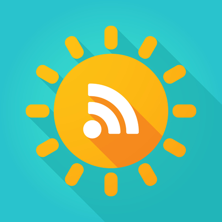 really simple syndication: Illustration of a long shadow  bright sun icon with an RSS sign
