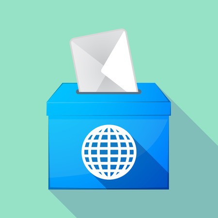 elect: Illustration of a long shadow coloured ballot box icon with a world globe