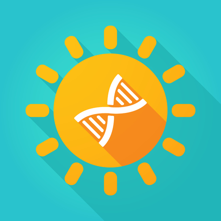 Illustration of a long shadow  bright sun icon with a DNA sign