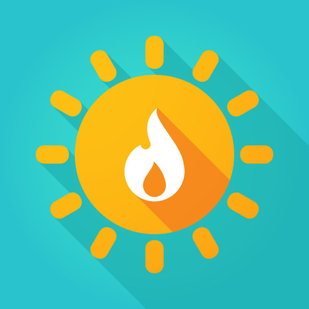 Illustration of a long shadow  bright sun icon with a flame