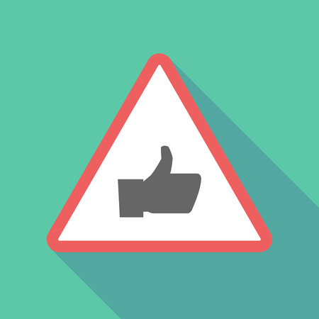 confirmed: Illustration of a long shadow  triangular warning sign icon with a thumb up hand