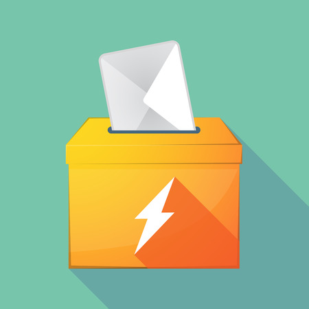 elect: Illustration of a long shadow coloured ballot box icon with a lightning Illustration