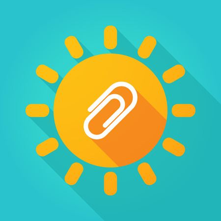 Illustration of a long shadow  bright sun icon with a clip