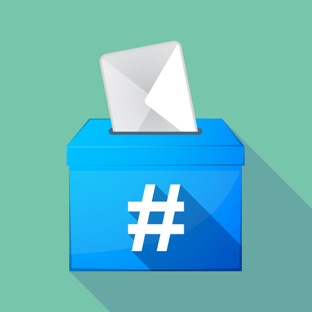 hash: Illustration of a long shadow coloured ballot box icon with a hash tag Illustration