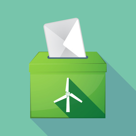 Illustration of a long shadow coloured ballot box icon with a wind turbine
