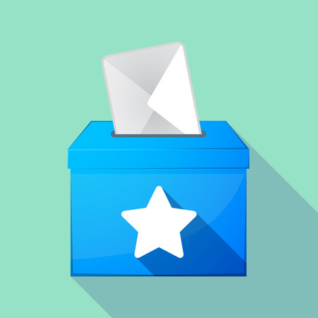 elect: Illustration of a long shadow coloured ballot box icon with a star