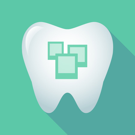 few: Illustration of a long shadow tooth icon with a few photos Illustration