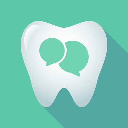 Illustration of a long shadow tooth icon with comic balloons