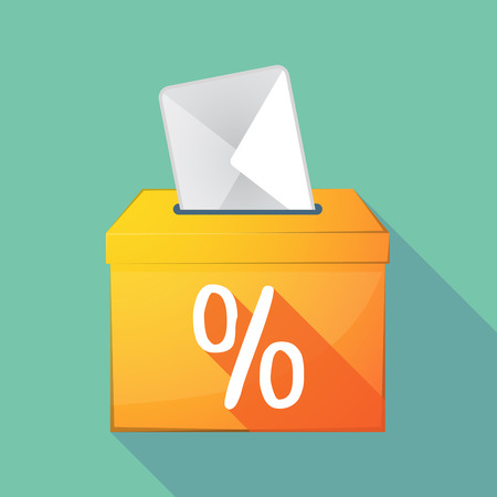 elect: Illustration of a long shadow coloured ballot box icon with a discount sign