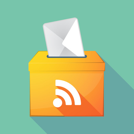 really simple syndication: Illustration of a long shadow coloured ballot box icon with an RSS sign